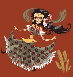 woman skeleton in mystic dress dancing poster vector image