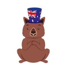 Wombat with hat australian celebration vector