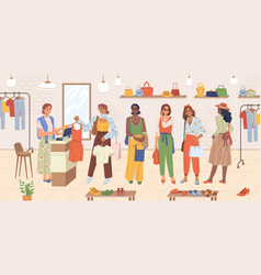 women buyers stand in line at cash desk shopping vector image
