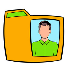 Yellow folder with male photo icon cartoon vector