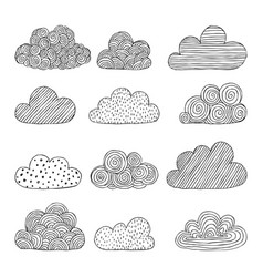 beautiful set of doodle clouds isolated sketch vector image vector image