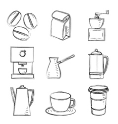 Coffee sketches vector image