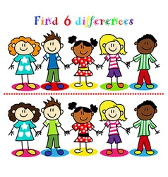 Difference game with kids stick figures vector image vector image