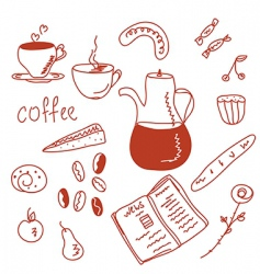 morning coffee funny doodles set vector image vector image