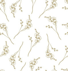 Seamless orchid flower pattern vector image