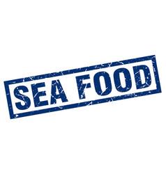 Square grunge blue sea food stamp vector