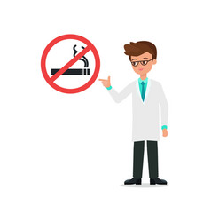 doctor in suit index to no smoking sign and vector image vector image