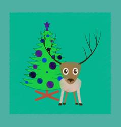Flat shading style icon christmas tree deer vector