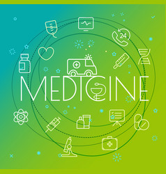 medicine concept different thin line icons vector image vector image