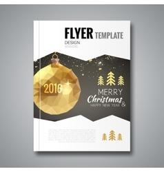 Merry Christmas Happy New Year trendy Brochure vector image vector image
