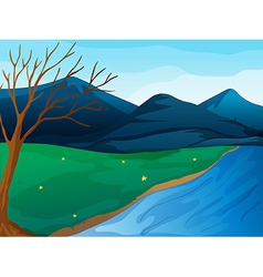 River and mountains vector image vector image