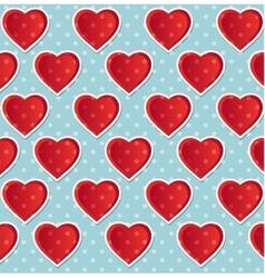 Seamless heart polka dot blue vector