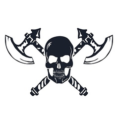 Skull with Crossed Axes isolated on white vector image