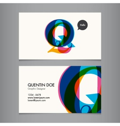 Business card template letter Q vector image