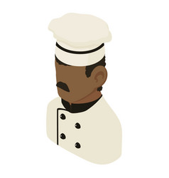 chef man african american icon isometric 3d style vector image