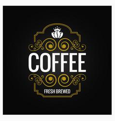 coffee logo vintage label design background vector image