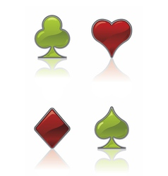 green and red card suit icons vector image vector image