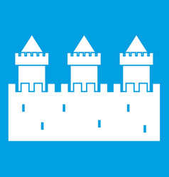 medieval wall and towers icon white vector image