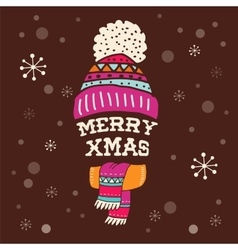 Merry Christmas - warm knitted hat with lettering vector image