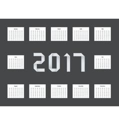 Modern calendar 2017 on black vector