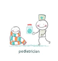 pediatrician giving medicine to a child vector image vector image