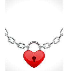 red shiny heart lock on chain vector image