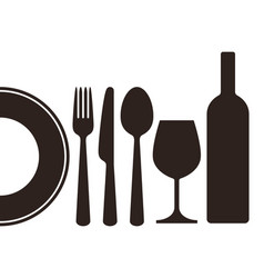 bottle wineglass plate knife fork and spoon vector image vector image