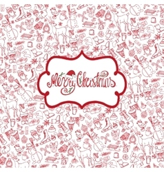Christmas season Doodle symbolsPattern background vector image vector image