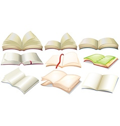 Different design of books and notebooks vector image vector image