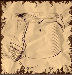 Paint bucket and brush on vintage background vector image vector image