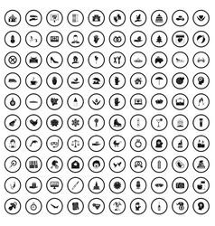 100 joy icons set simple style vector