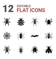 12 bug icons vector