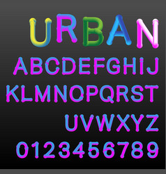 3d gradient colors alphabet font template vector image