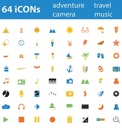 64icon adventure travel camera music vector