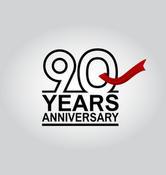 90 years anniversary logotype with black outline vector