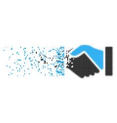 Acquisition handshake dispersed pixel icon vector