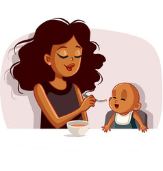 african mother feeding her basolid food vector image