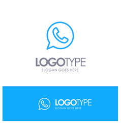App chat telephone watts app blue outline logo vector