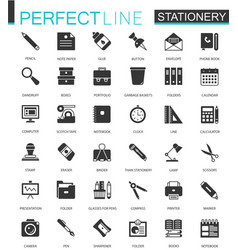 Black classic office stationery icons set for web vector
