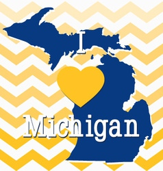 Blue and Yellow Chevron Michigan card vector