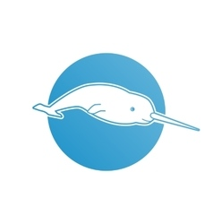 Blue flat logo narwhal for company and business vector image