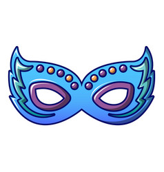 Blue lady carnival mask icon cartoon style vector