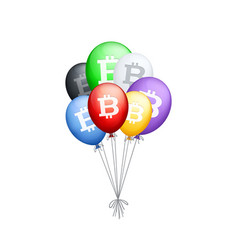 bunch of different colored balloons with bitcoin vector image