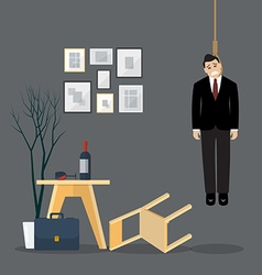 Businessman hang himself in his room vector