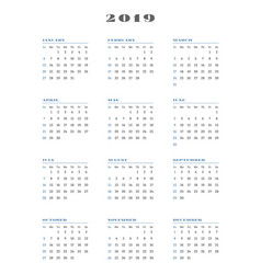 calendar for 2019 year week starts sunday vector image