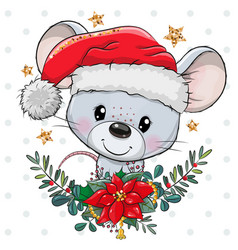 Cartoon mouse in santa hat with christmas wreath vector