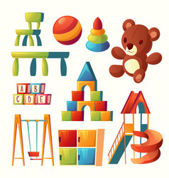 cartoon toys for children playground vector image