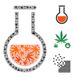 Chemical vessel collage of cannabis vector