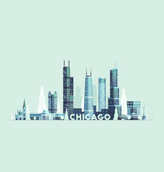 chicago skyline united states city drawn vector image