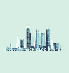 Chicago skyline united states city drawn vector